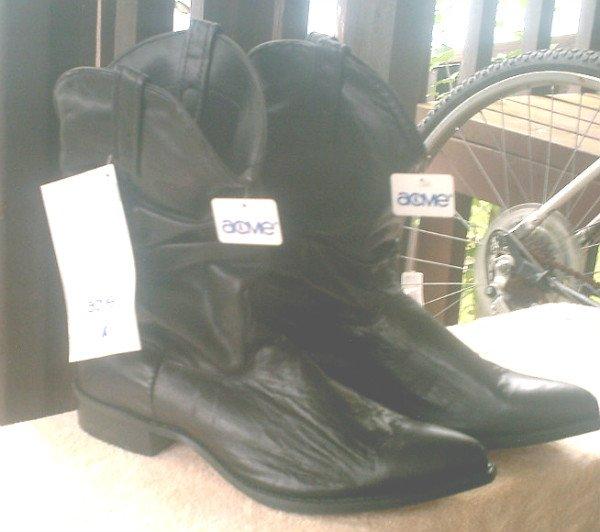 Vintage Acme Dingo Black Leather Cowboy Boots NWT - Men's 12D Western Boot