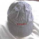 OshKosh Vintage Denim Blue Stripe Railroad Train Engineer Hat Cap NWT