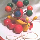 '70s Vintage-Kouvalias Caterpillar-Greek wooden spinning pull toy-handmade in Greece-Antique