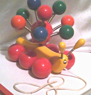 '70s Vintage-Kouvalias Caterpillar-Greek wood pull toy-handmade Greece-Antique