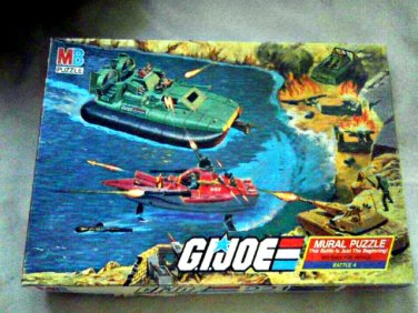 1985 GI Joe: ARAH Set (4) Mural Jigsaw Puzzle Battles, Vintage MB Hasbro-Milton Bradley (221 pcs)