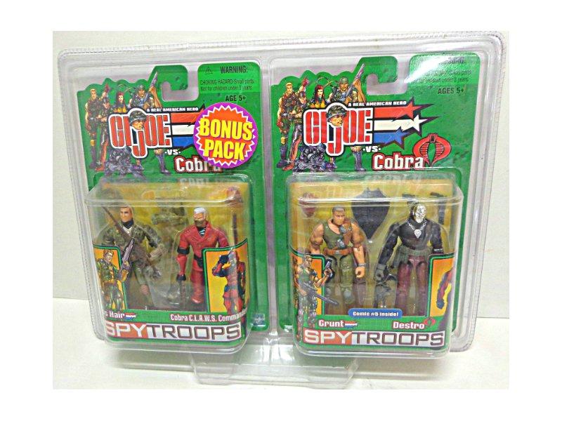 Cobra Claws Commander Grunt Destro Cross Hairs Sniper, Gi Joe 2-Pk Bonus - Hasbro SpyTroops