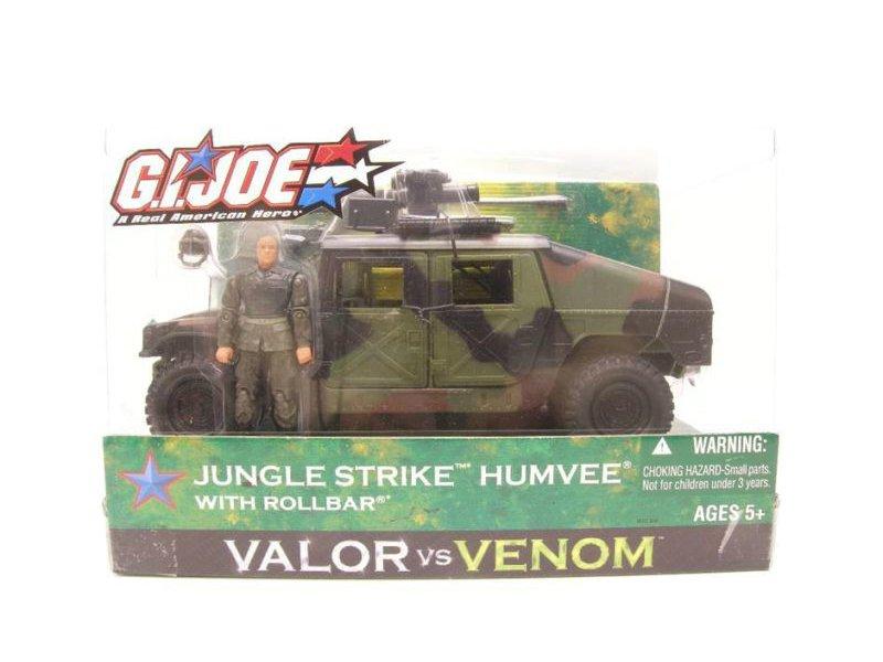"GI Joe Jungle Humvee/Rollbar Bravo Vehicle (Night Ops) 3.75"" 1:18 2005 Hasbro Valor Venom"
