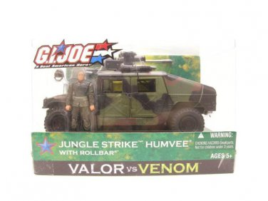 "GI Joe Jungle Humvee Bravo Vehicle (Night Ops) + Rollbar 3.75"" 1:18 2005 Hasbro Valor Venom"