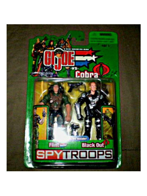 Gi Joe Spy Troops 2-Pack: Night Force Flint & Cobra Black Out (Sniper) 2003 Hasbro