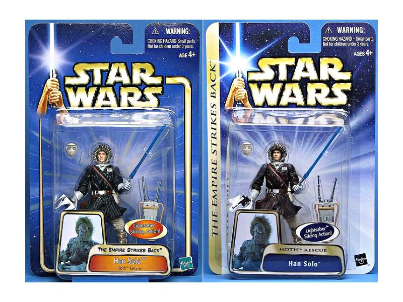 Hasbro Star Wars Saga Han Solo (Echo Base) Esb Hoth set blue+brown jacket variants, Saga 2003