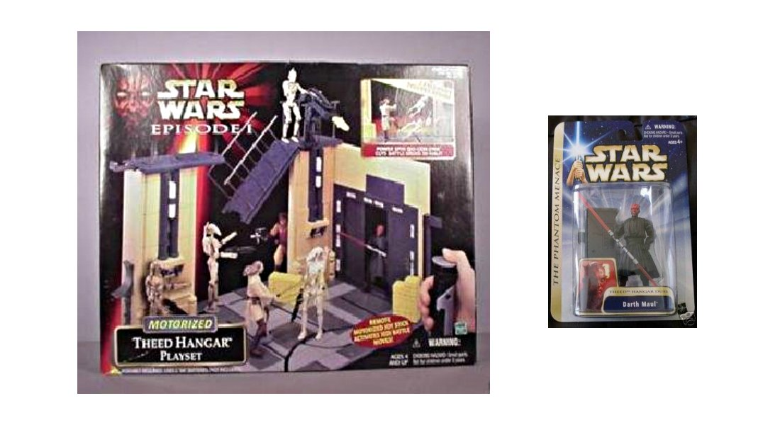 Star Wars Ep1: Theed Palace Assault Playset_Naboo Hangar + Action Figures Darth Maul, Qui-Gon, Droid