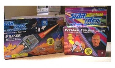 Starfleet Phaser Type II Laser Toy Pistol & Communicator. Star Trek TNG cosplay prop replicas (1992)
