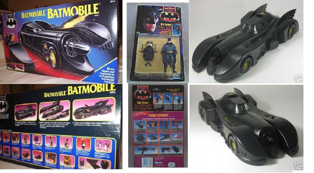 1991 Kenner Batmissile Batmobile, 89 Burton Batman Returns Dark Knight Vehicle + Keaton AF Set
