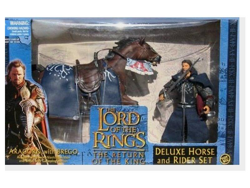 "Deluxe Horse & Rider Set: Aragorn Brego Toybiz 6"" LOTR Hobbit | Four Horsemen Mythic Legions"