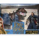 "2003 LOTR Aragorn with Brego Horse Toybiz Lord Rings Deluxe Set | Hobbit 6""  Desolation Smaug"
