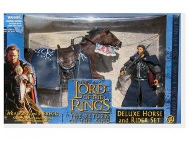 "Deluxe Horse & Rider Set: Aragorn+Brego Toybiz 6"" LOTR Hobbit | Four Horsemen Mythic Legions"
