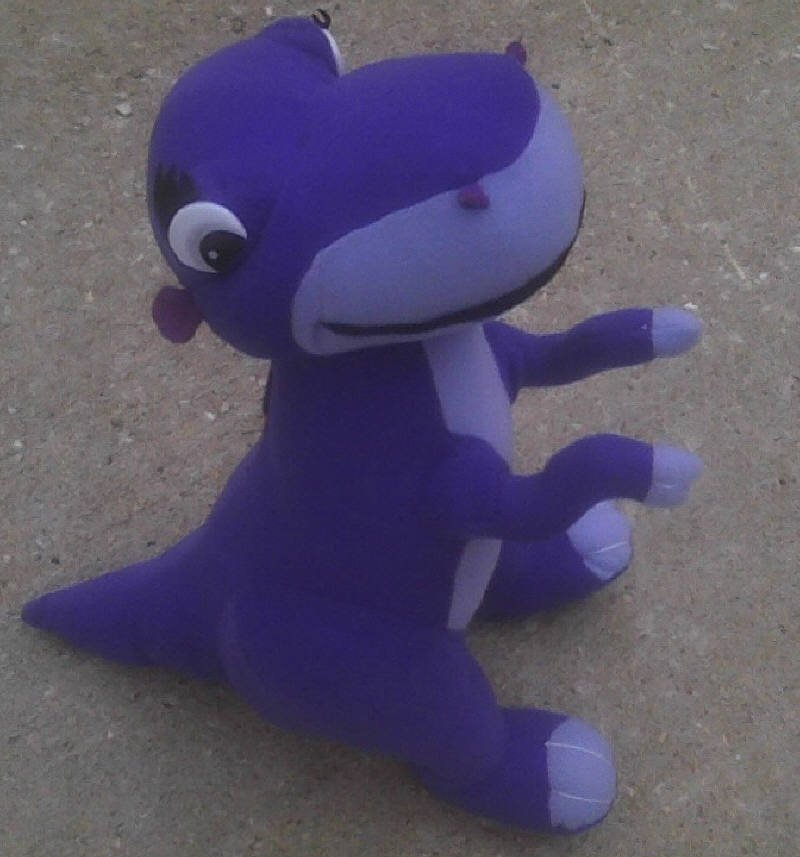 Universal Studios Land Before Time Chomper-Vtg 80s-plush toy-stuffed doll-purple dinosaur [Godzilla]
