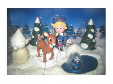 Rudolph-Hermey Couple of Misfits-Memory Lane Deluxe Playset-Santa's Xmas Village-Rankin Classics
