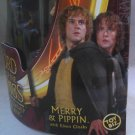 LotR Fellowship Merry & Pippin-Hobbit 2-Pack-Elven Cloak-Toybiz 2002 Lord of the Rings (DCC81138)