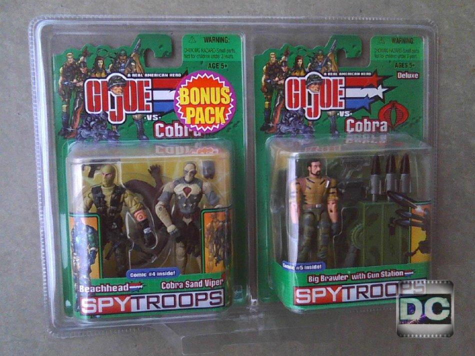 "GI Joe SpyTroops Bonus Pack Beachhead vs Cobra Sand Viper Big Brawler Walmart 3.75"""