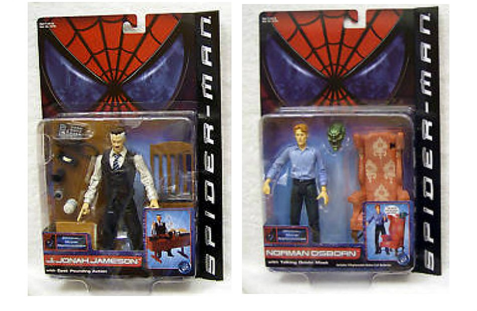 "2002 Spiderman Movie Marvel Legends Green Goblin Osborn J Jonah Jameson Toybiz 6"" AF"
