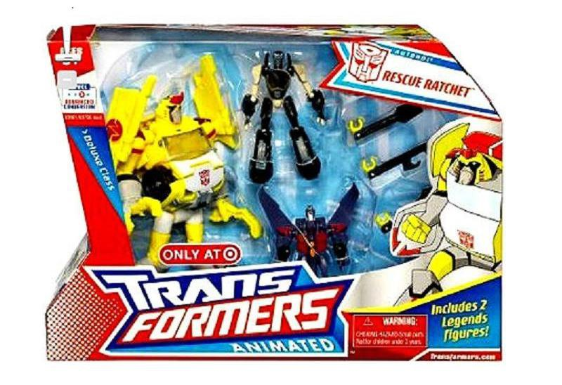 Transformers Animated Deluxe Rescue Ratchet + Legends Prowl Starscream NIB