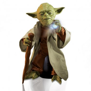 "Legendary Yoda Jedi Master-Star Wars 16"" Talking Figure. Spin Master Toy Collector Box + Lightsaber"