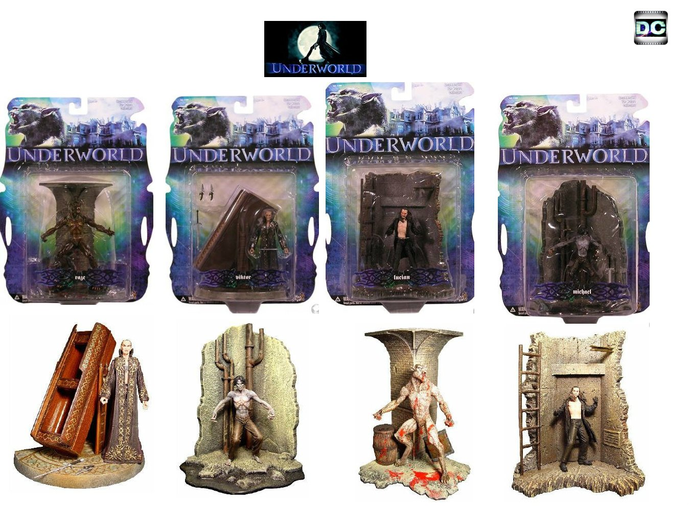 Underworld (2003) Mezco Action Figure Set Vampire Werewolf Lycan {Goth, The Originals}