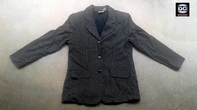 Women's Business Suit Blazer, Wool Coat-Gray Plaid Size L Vintage