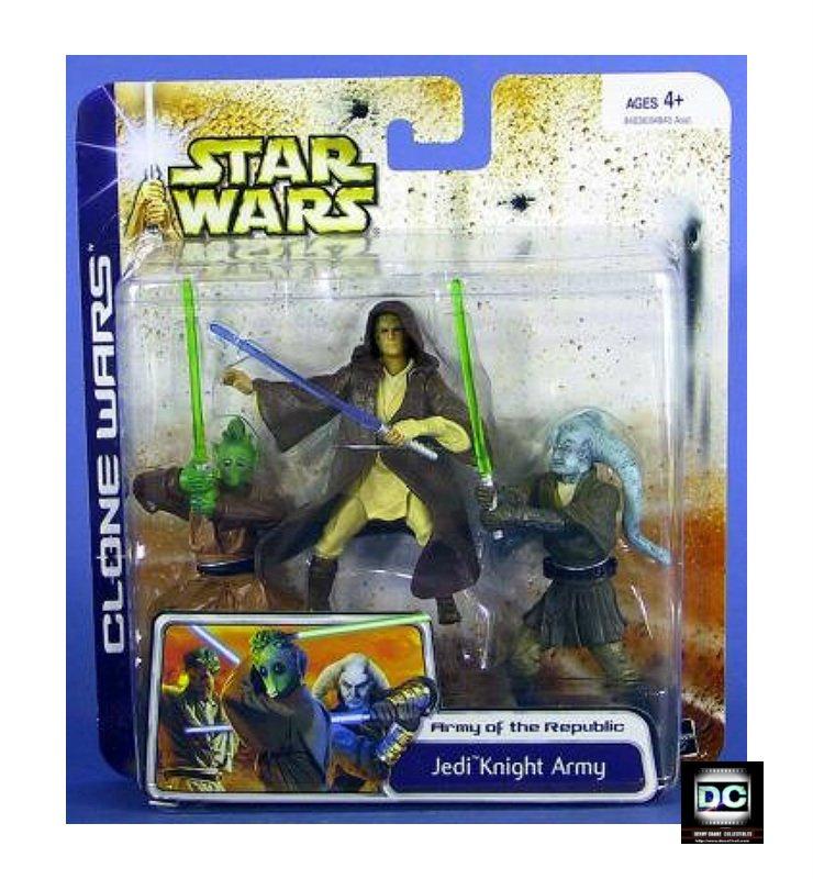 Star Wars TCW: Jedi Knight Army Clone Wars Deluxe 3-Pack � Geonosis Arena Rodian Twi'lek