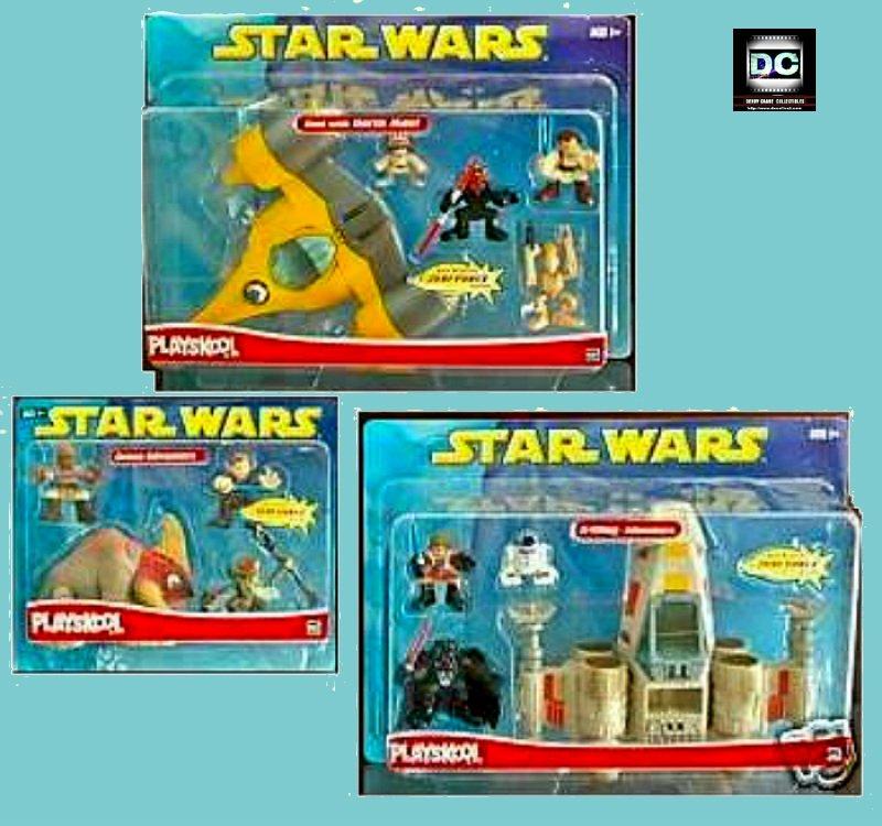 Playskool Galactic Heroes Star Wars Playset Lot (Luke X-Wing+Naboo+Geonosis Arena)