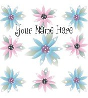 Ecrater Store Logo & HomePage Image Pink Blue Flowers Dress Up your Ecrater Store Add your Name!