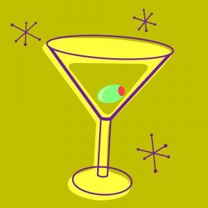 Retro Martini 1 - 8x8 Print