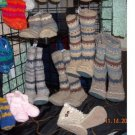 "Handmade Unisex Slipper Socks Mukluks Youth or Adult Size  14"" Tall"