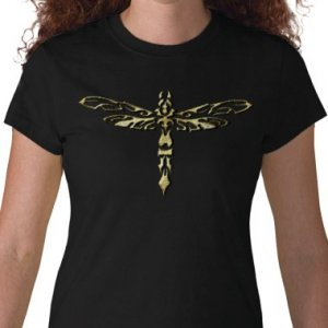 DRAGONFLY Design Gold Embossed looking Kids Dark T-Shirt size youth lg