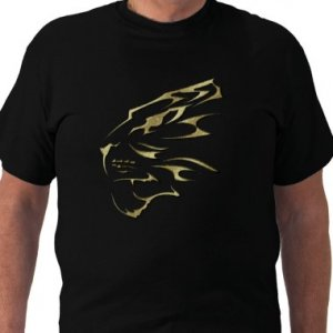 TIGER FACE Design Gold Embossed looking Kids Dark T-Shirt size youth lg