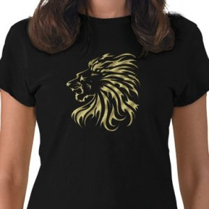 LION HEAD Design Gold Embossed looking Kids Dark T-Shirt size youth lg