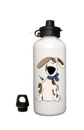 Cartoon Dog Aluminum White Water Bottle Eco Green