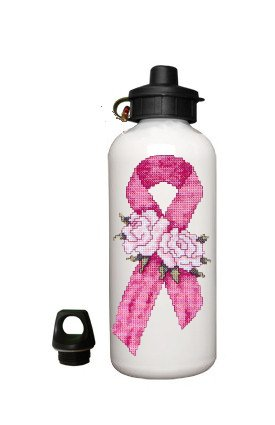 Breast Cancer Awareness Pink ribbon Aluminum White Water Bottle Eco Green