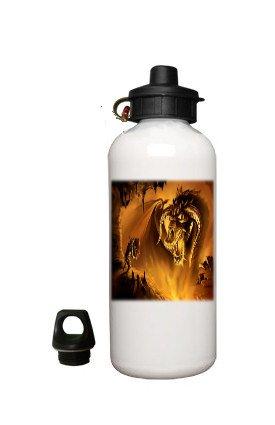 Fantasy Dragon Aluminum White Water Bottle Eco Green