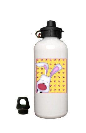 Peeking Bunny Rabbit Aluminum White Water Bottle Eco Green