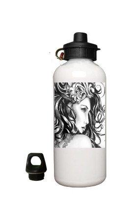Handdrawn Lady Design Aluminum White Water Bottle Eco Green