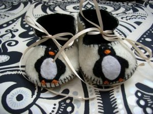 Cream & Black Booties with Penguins, 3-6 months (RM 80)