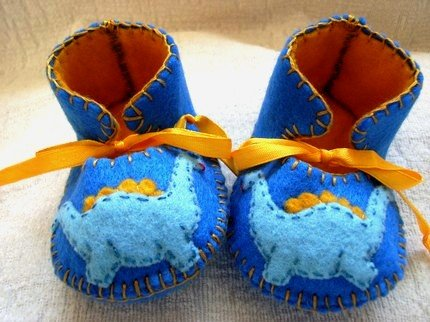 Crystal Blue & Gold Booties with Dinosaurs, 3-6 months (RM 87)