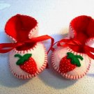 Light Pink & Red Booties with Strawberries, 0-3 months (RM 80)