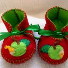 Red & Lime Booties with Apple & Moon, 3-6 months (RM 84)