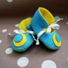 Blue & Yellow Booties with Crescent Moon, 0-3 months (RM 80)