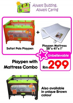 Bumble Bee Playpen + Getha Mattress Combo RM 299