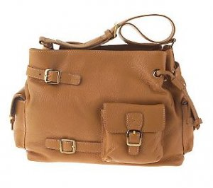 MAXX NY Pebbled Leather Shoulder Bag - Tan/Camel