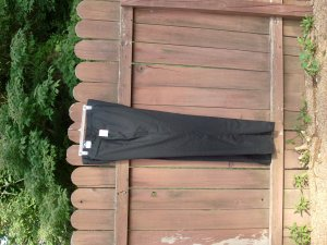 "Men's Lightweight 100% Worsted Wool Black Dress Pants - 52"" waist"