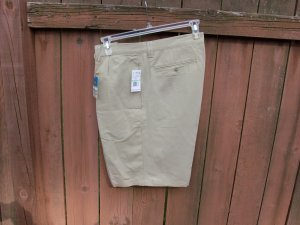 """Men's Linen Blend Khaki Shorts by Solitude; 34"""" waist"""