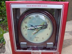 Solid Wood Desk Clock with Vintage Plane by RELIC