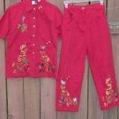 STUDIO WEST Red Embroidered Capri Set - Medium