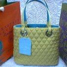 Vera Bradley Tote microfiber Key Lime  aqua lining   purse shopper  gift bag  NWT Retired